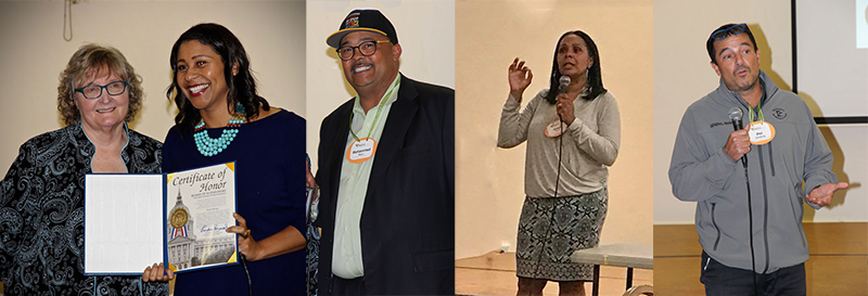 London Breed, President, Board of Supervisors; Mohammed Nuru, Director of the Dept of Public Works; Sheryl Davis, Director of the Human Rights Commission; and Phil Ginsberg, General Manager, Recreation and Park Department