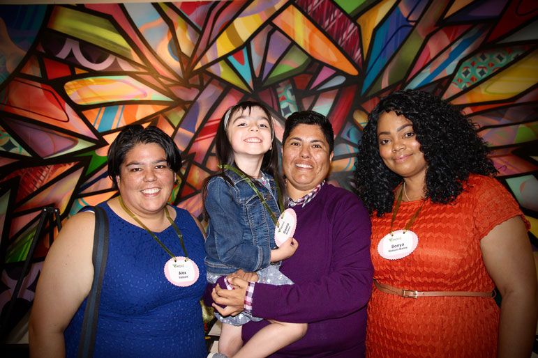 Alex Vazquez, Lily, Sonja Robles and Sonya Watson, past and present Advisors from the Tides Cewnter